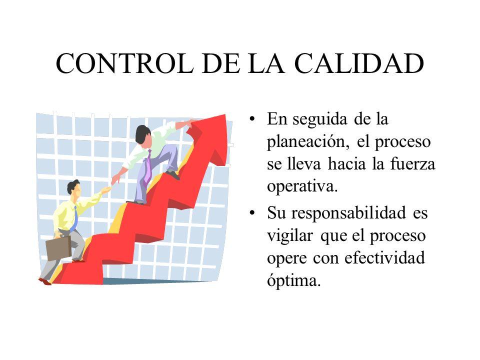 CONTROL DE LA CALIDAD En seguida de la planeación, el proceso se lleva hacia la fuerza operativa.
