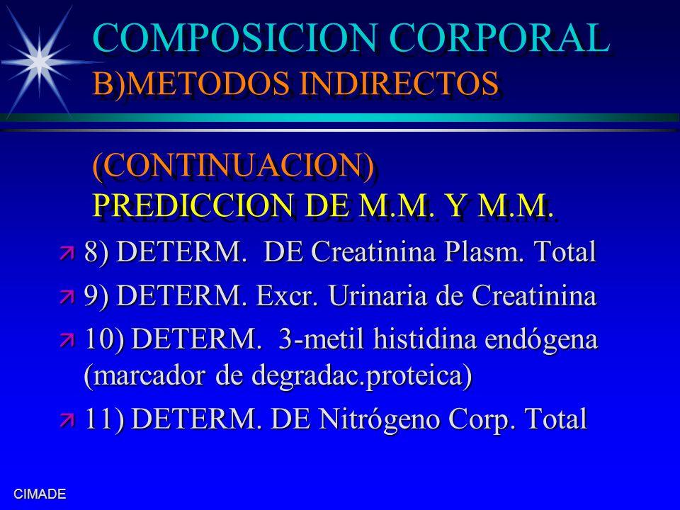 COMPOSICION CORPORAL B)METODOS INDIRECTOS (CONTINUACION) PREDICCION DE M.M. Y M.M.