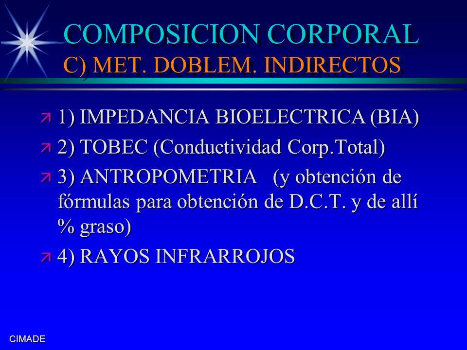 COMPOSICION CORPORAL C) MET. DOBLEM. INDIRECTOS