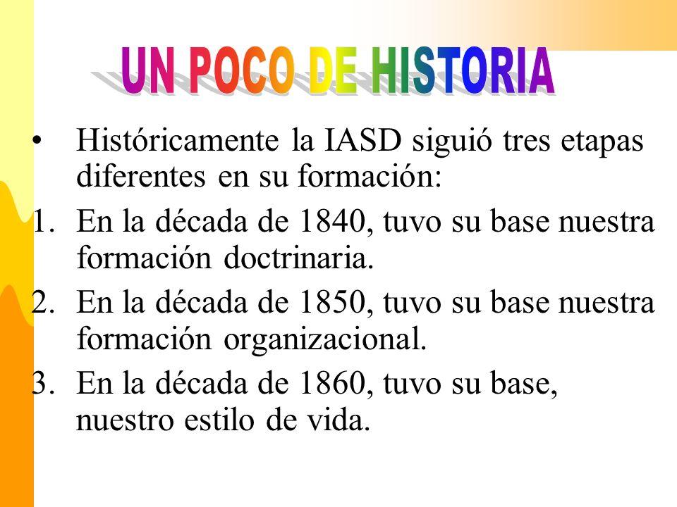 UN POCO DE HISTORIA Históricamente la IASD siguió tres etapas diferentes en su formación: