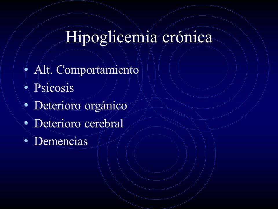 Hipoglicemia crónica Alt. Comportamiento Psicosis Deterioro orgánico