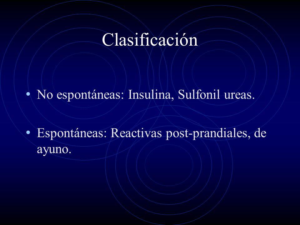 Clasificación No espontáneas: Insulina, Sulfonil ureas.