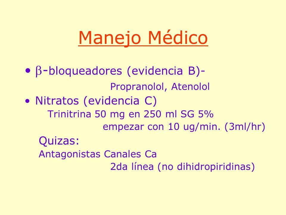 Manejo Médico -bloqueadores (evidencia B)- Propranolol, Atenolol