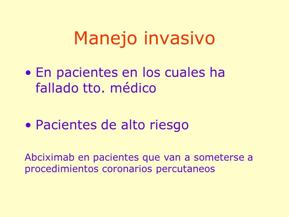 Manejo invasivo En pacientes en los cuales ha fallado tto. médico