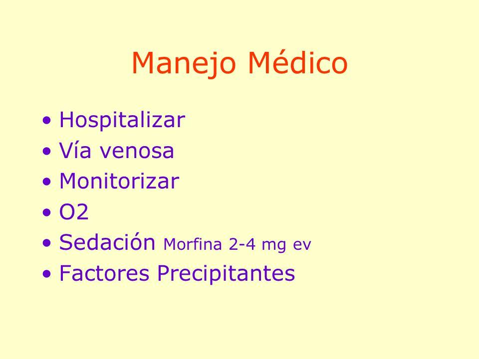 Manejo Médico Hospitalizar Vía venosa Monitorizar O2