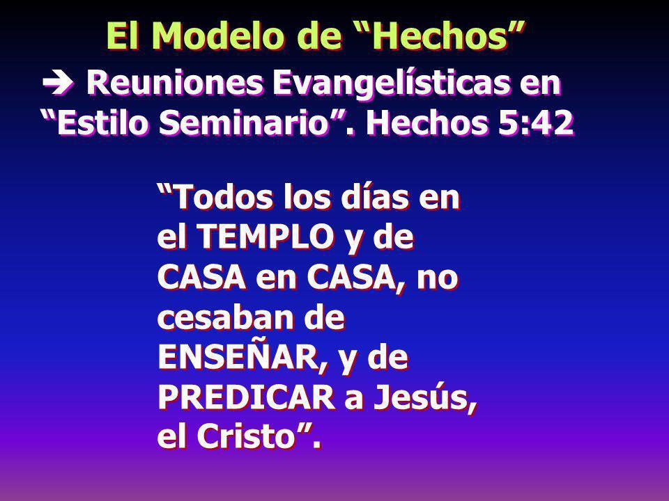 El Modelo de Hechos  Reuniones Evangelísticas en Estilo Seminario . Hechos 5:42.