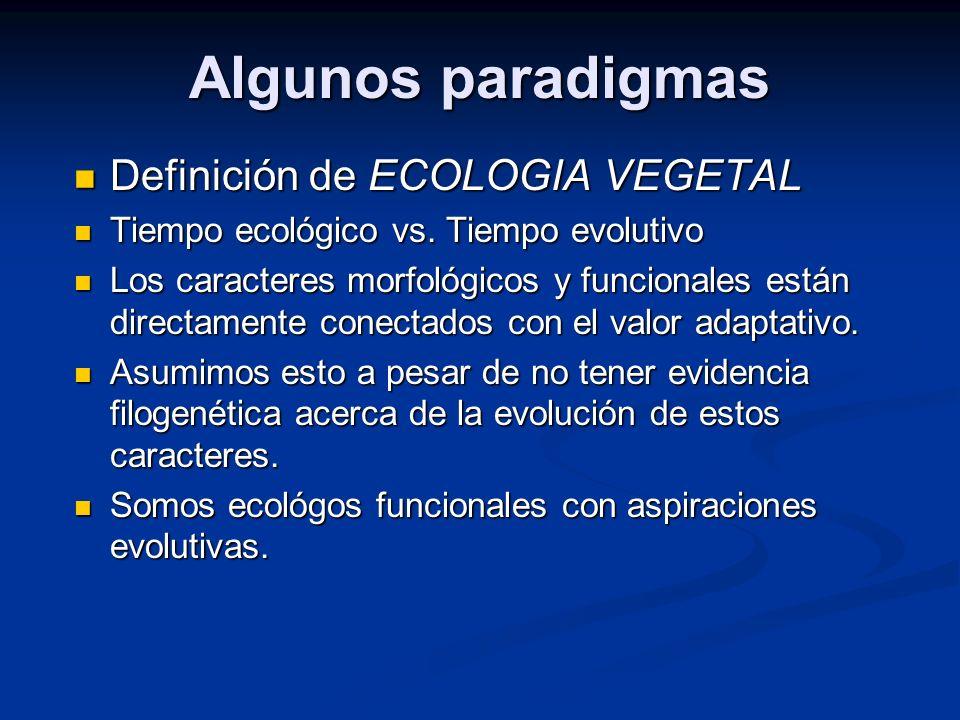 Algunos paradigmas Definición de ECOLOGIA VEGETAL