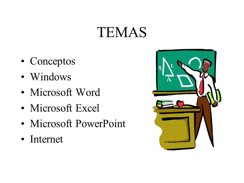 TEMAS Conceptos Windows Microsoft Word Microsoft Excel