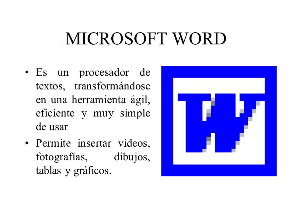 MICROSOFT WORD Es un procesador de textos, transformándose en una herramienta ágil, eficiente y muy simple de usar.