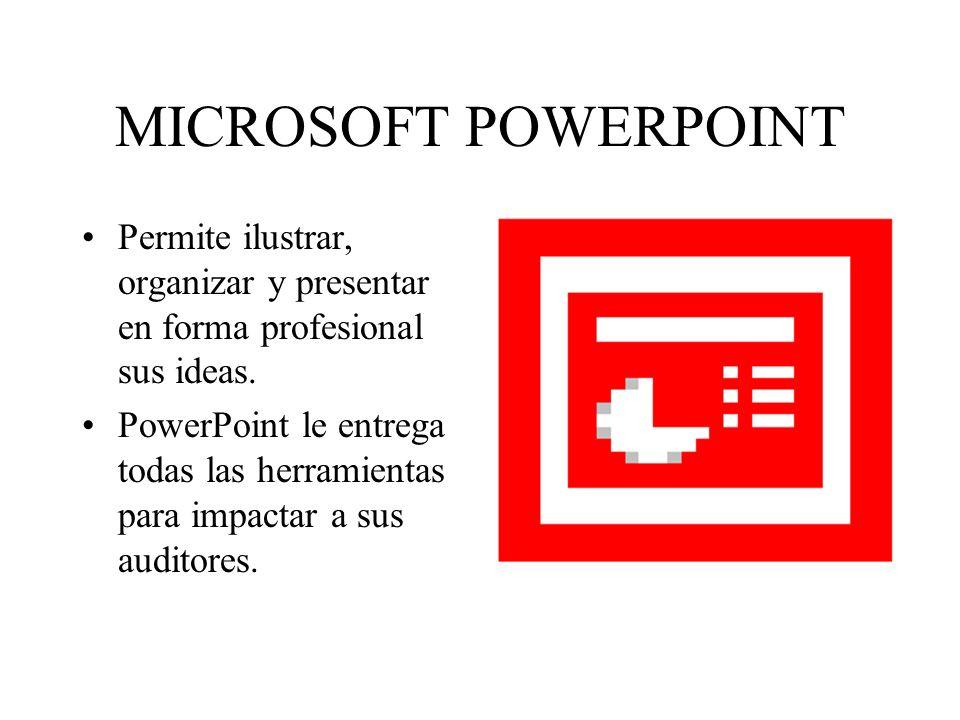 MICROSOFT POWERPOINT Permite ilustrar, organizar y presentar en forma profesional sus ideas.