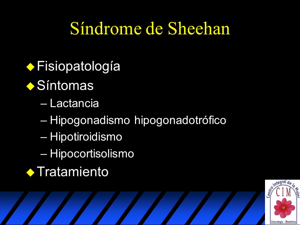 Síndrome de Sheehan Fisiopatología Síntomas Tratamiento Lactancia