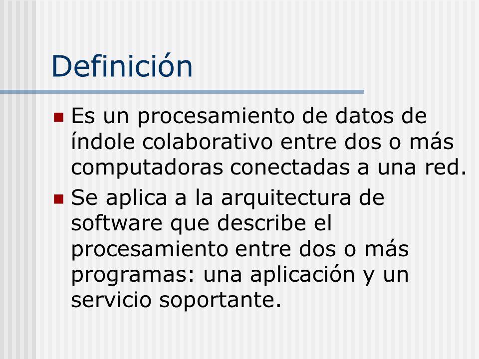 Definición Es un procesamiento de datos de índole colaborativo entre dos o más computadoras conectadas a una red.