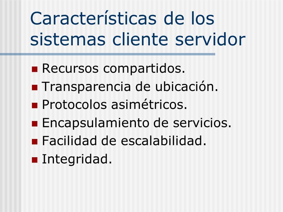Características de los sistemas cliente servidor