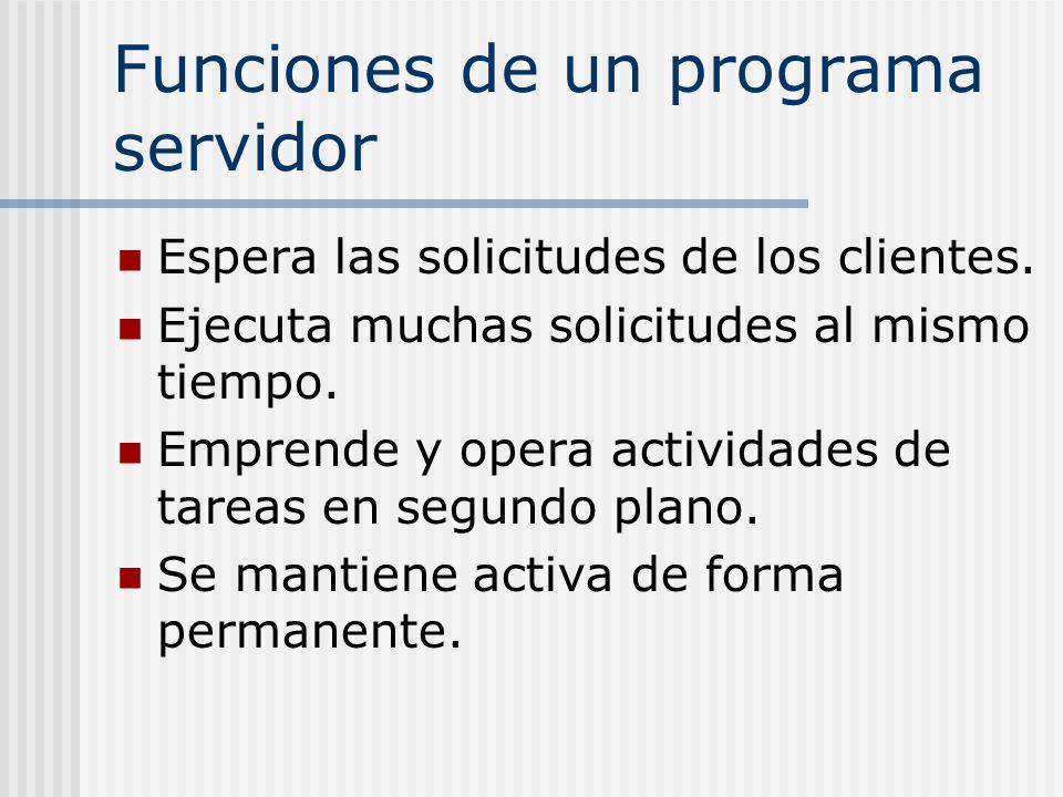 Funciones de un programa servidor