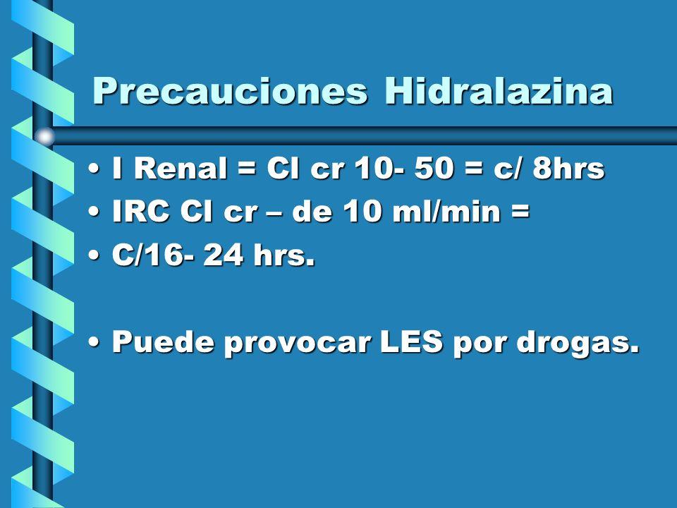 Precauciones Hidralazina
