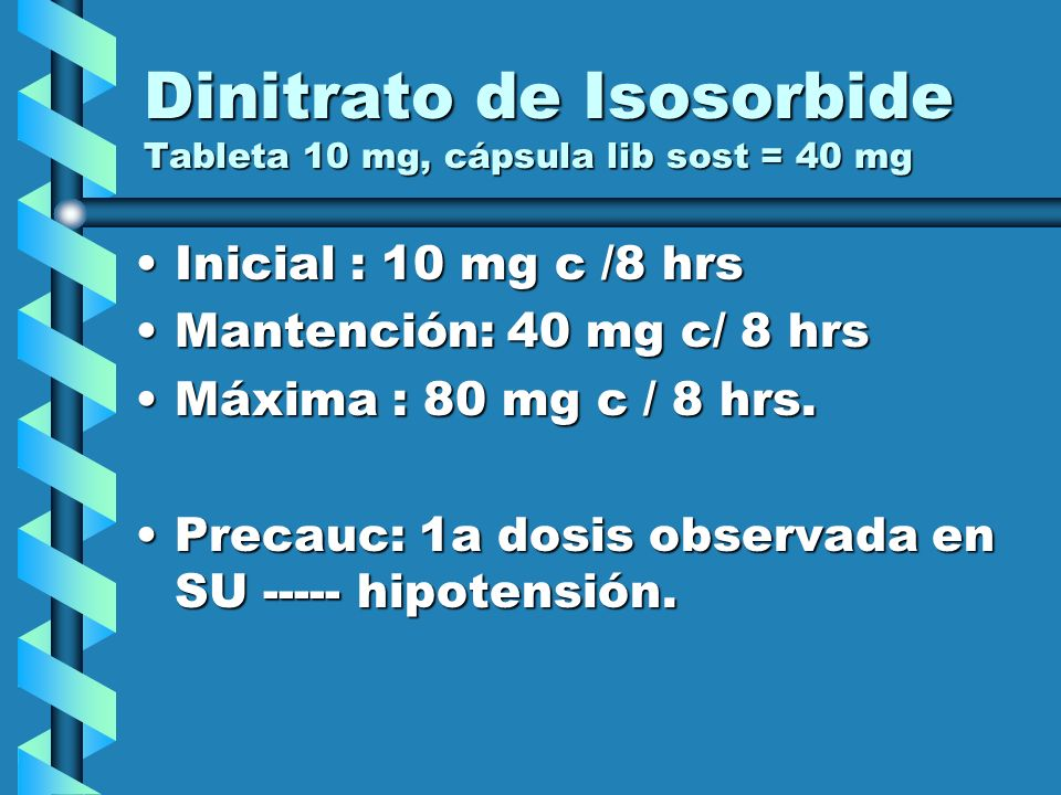 Dinitrato de Isosorbide Tableta 10 mg, cápsula lib sost = 40 mg