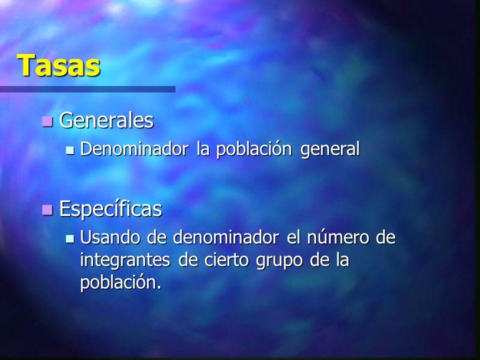 Tasas Generales Específicas Denominador la población general