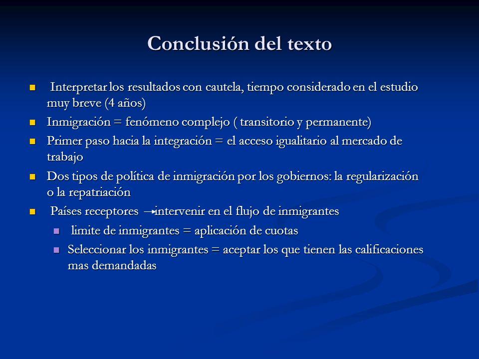 Conclusión del texto Interpretar los resultados con cautela, tiempo considerado en el estudio muy breve (4 años)