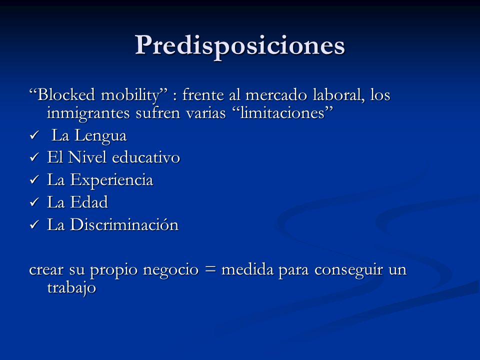 Predisposiciones Blocked mobility : frente al mercado laboral, los inmigrantes sufren varias limitaciones