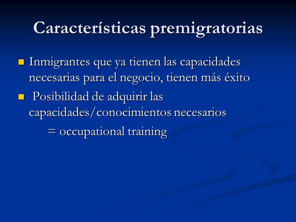 Características premigratorias