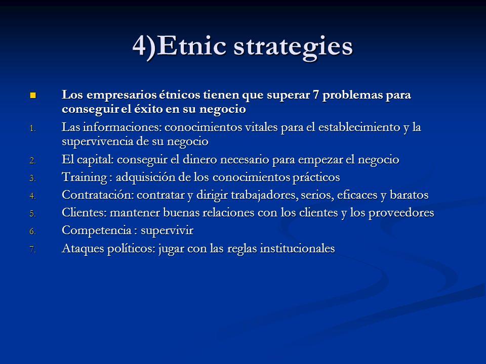 4)Etnic strategies Los empresarios étnicos tienen que superar 7 problemas para conseguir el éxito en su negocio.
