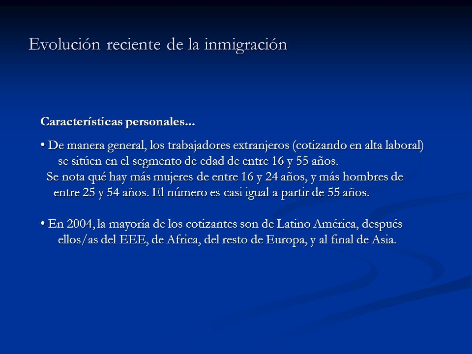 Evolución reciente de la inmigración