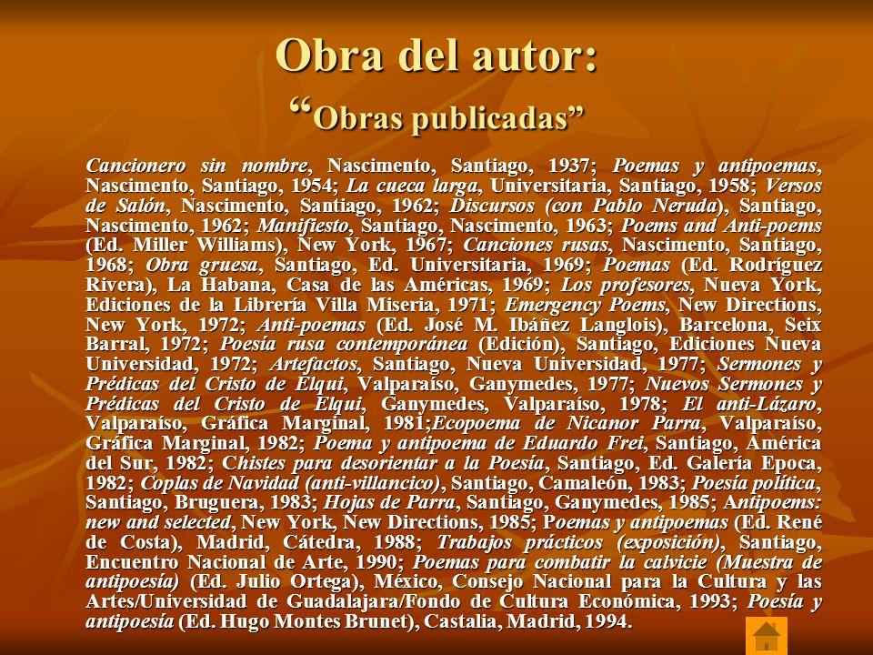 Obra del autor: Obras publicadas