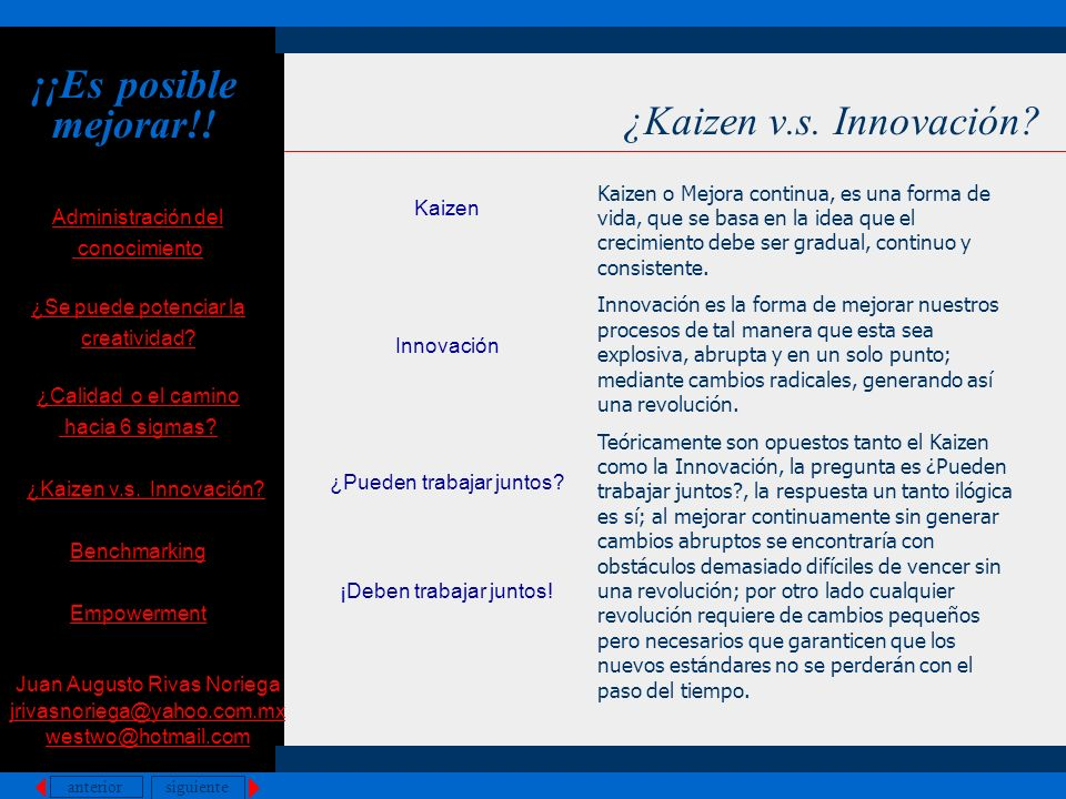 ¡¡Es posible mejorar!! ¿Kaizen v.s. Innovación