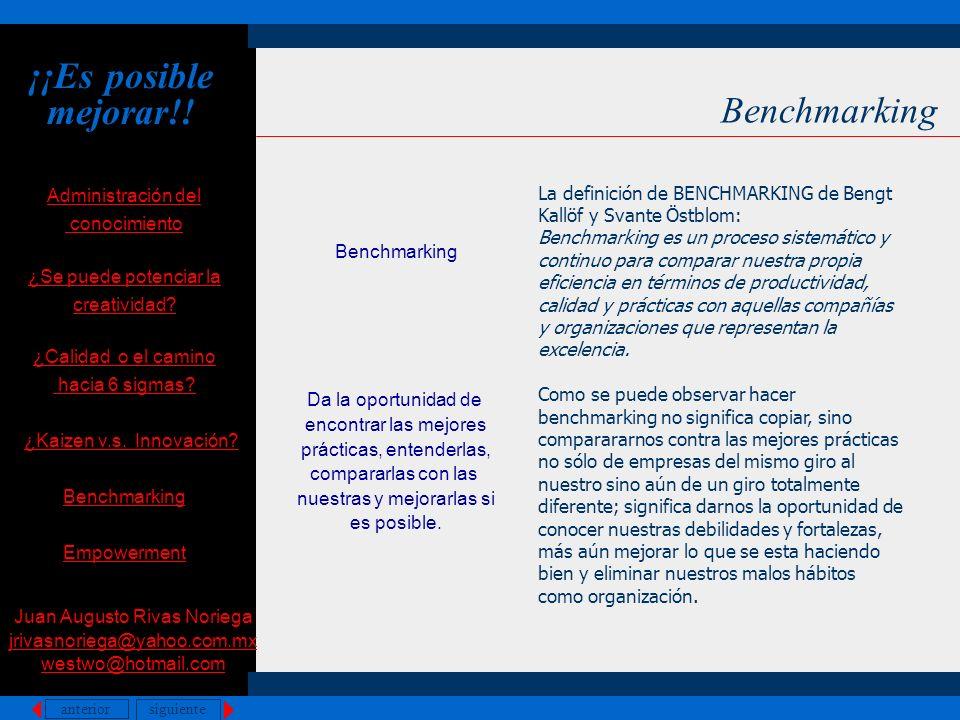 ¡¡Es posible mejorar!! Benchmarking Benchmarking Da la oportunidad de