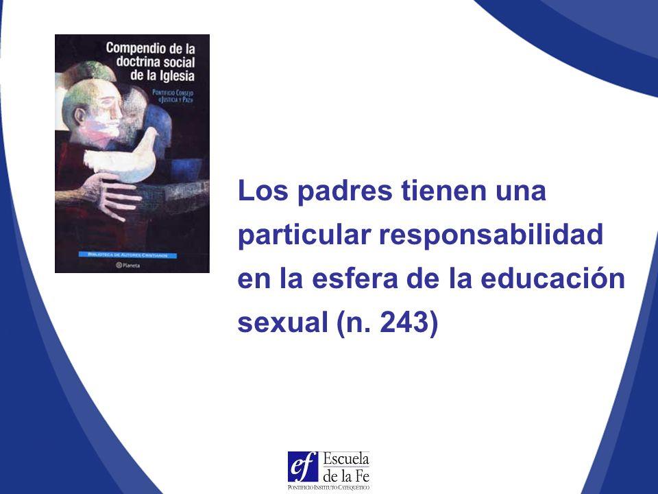 Los padres tienen una particular responsabilidad en la esfera de la educación sexual (n. 243)