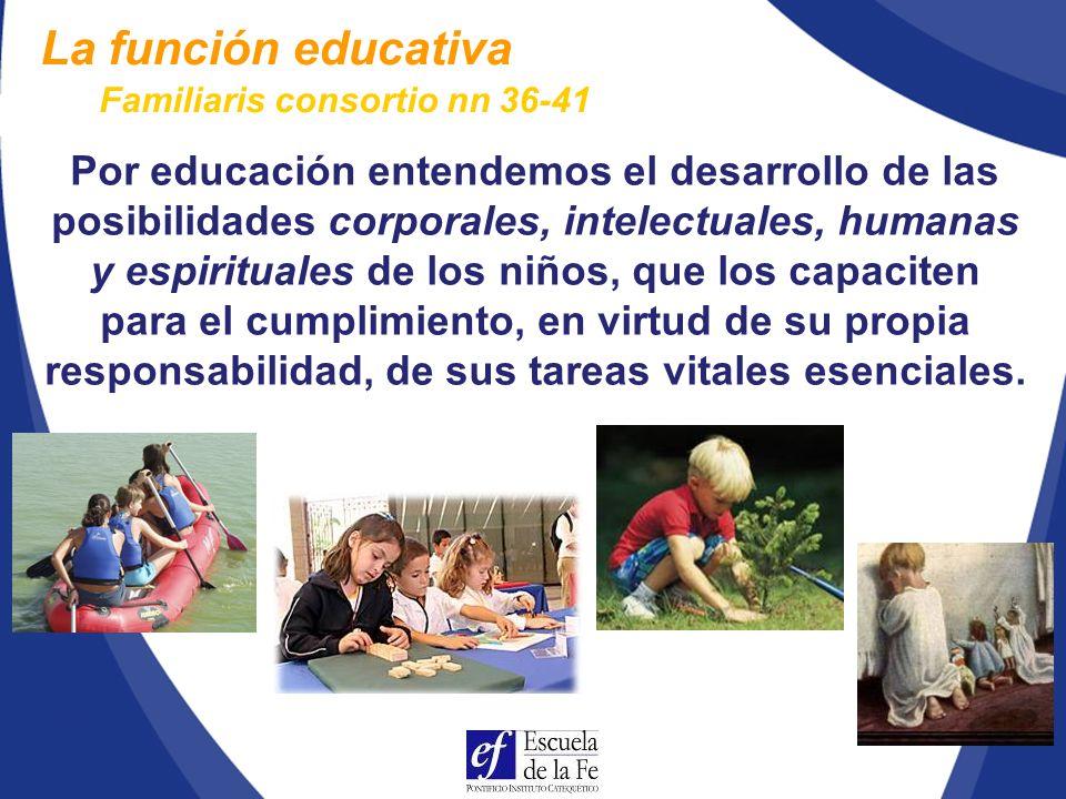 La función educativa Familiaris consortio nn 36-41.