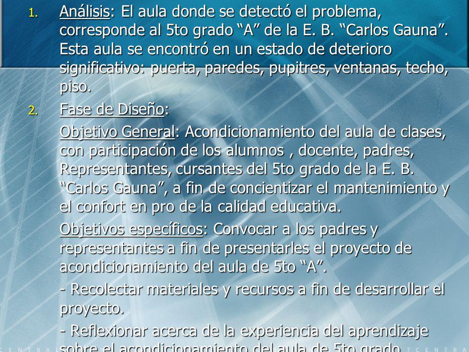 Análisis: El aula donde se detectó el problema, corresponde al 5to grado A de la E. B. Carlos Gauna . Esta aula se encontró en un estado de deterioro significativo: puerta, paredes, pupitres, ventanas, techo, piso.