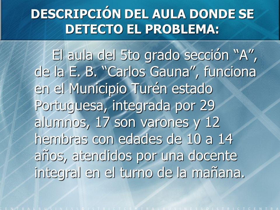 DESCRIPCIÓN DEL AULA DONDE SE DETECTO EL PROBLEMA: