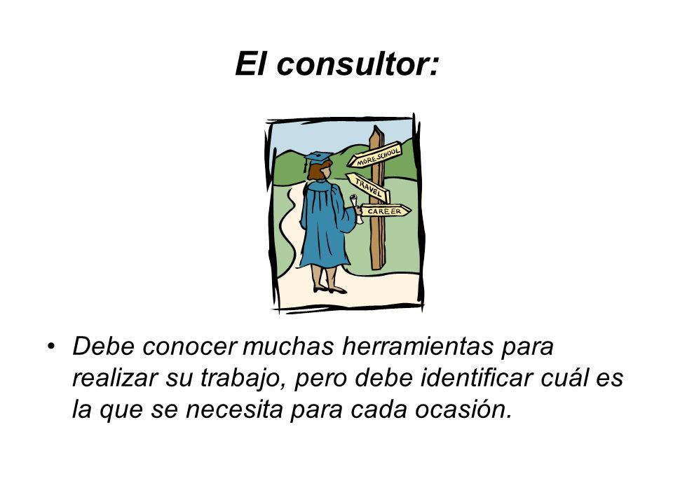 El consultor:Debe conocer muchas herramientas para realizar su trabajo, pero debe identificar cuál es la que se necesita para cada ocasión.