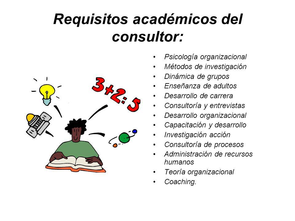 Requisitos académicos del consultor: