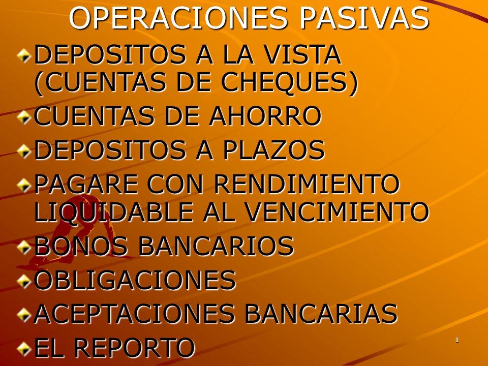 OPERACIONES PASIVAS DEPOSITOS A LA VISTA (CUENTAS DE CHEQUES)