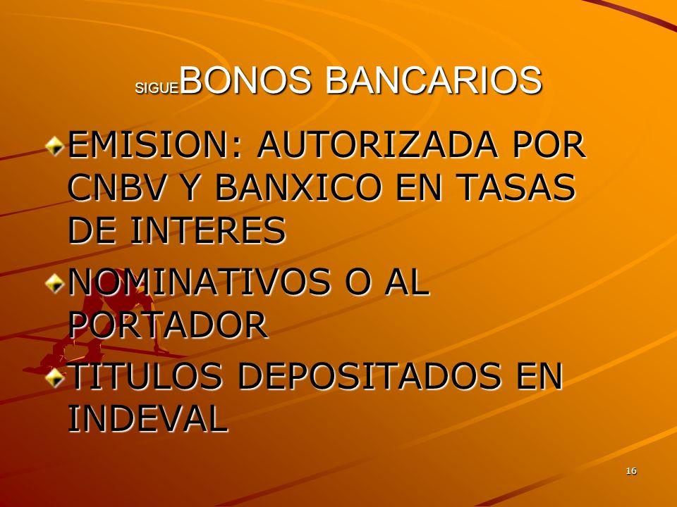 EMISION: AUTORIZADA POR CNBV Y BANXICO EN TASAS DE INTERES