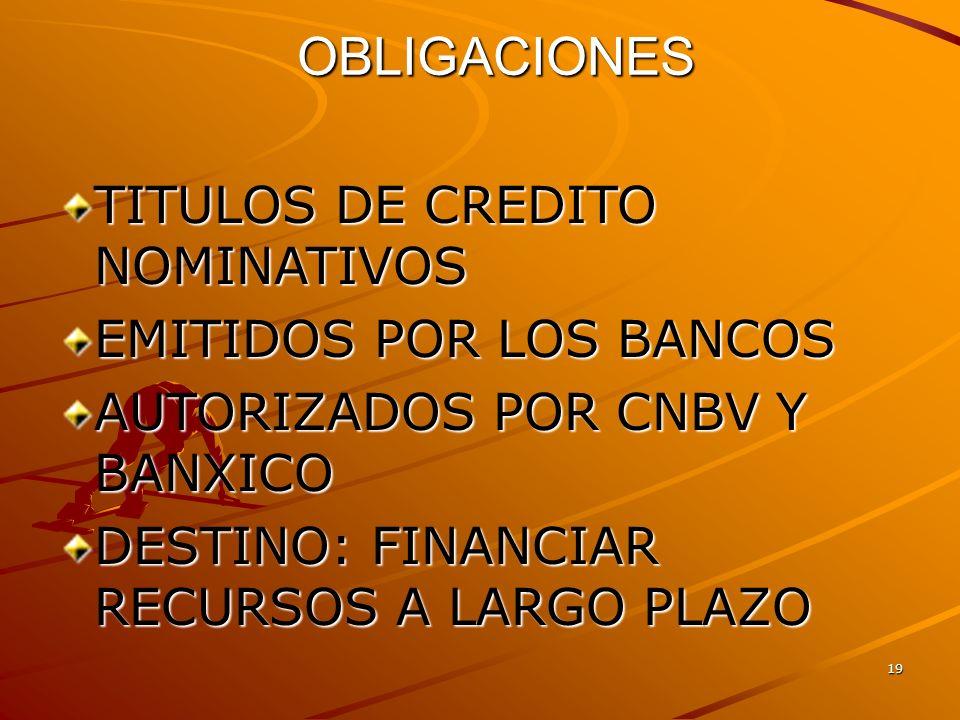 OBLIGACIONES TITULOS DE CREDITO NOMINATIVOS EMITIDOS POR LOS BANCOS