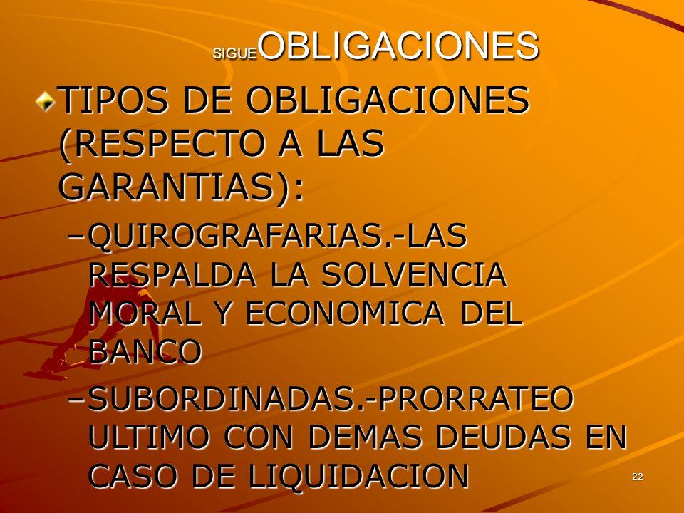 TIPOS DE OBLIGACIONES (RESPECTO A LAS GARANTIAS):