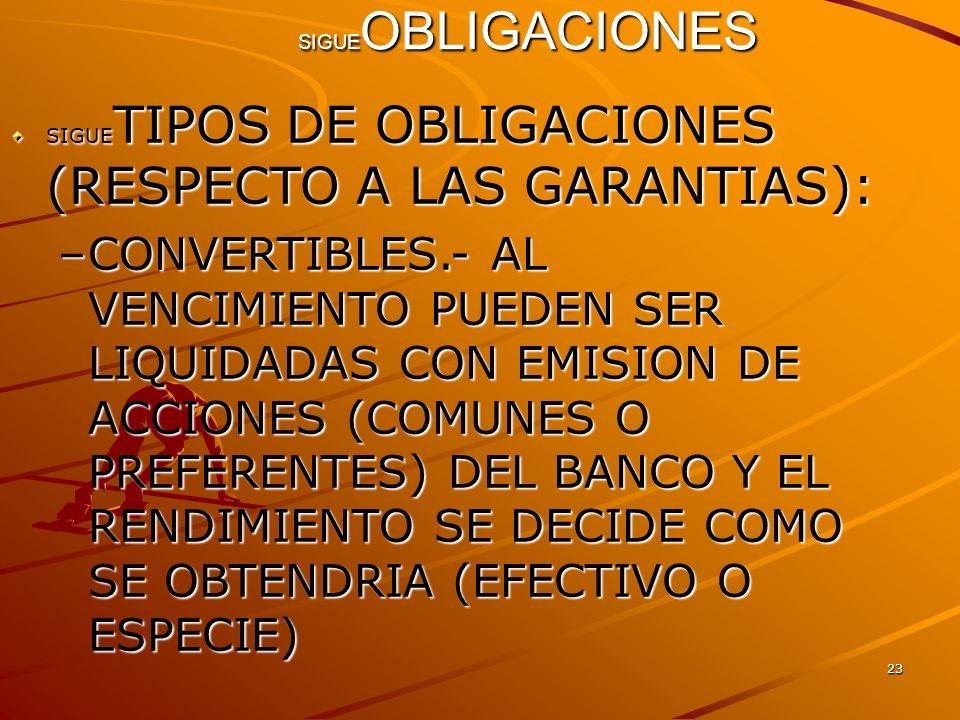 SIGUEOBLIGACIONES SIGUETIPOS DE OBLIGACIONES (RESPECTO A LAS GARANTIAS):