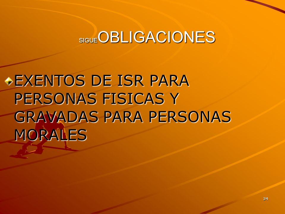 EXENTOS DE ISR PARA PERSONAS FISICAS Y GRAVADAS PARA PERSONAS MORALES