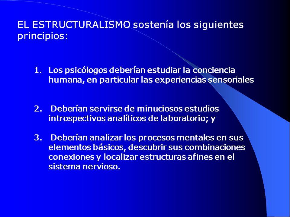 EL ESTRUCTURALISMO sostenía los siguientes principios: