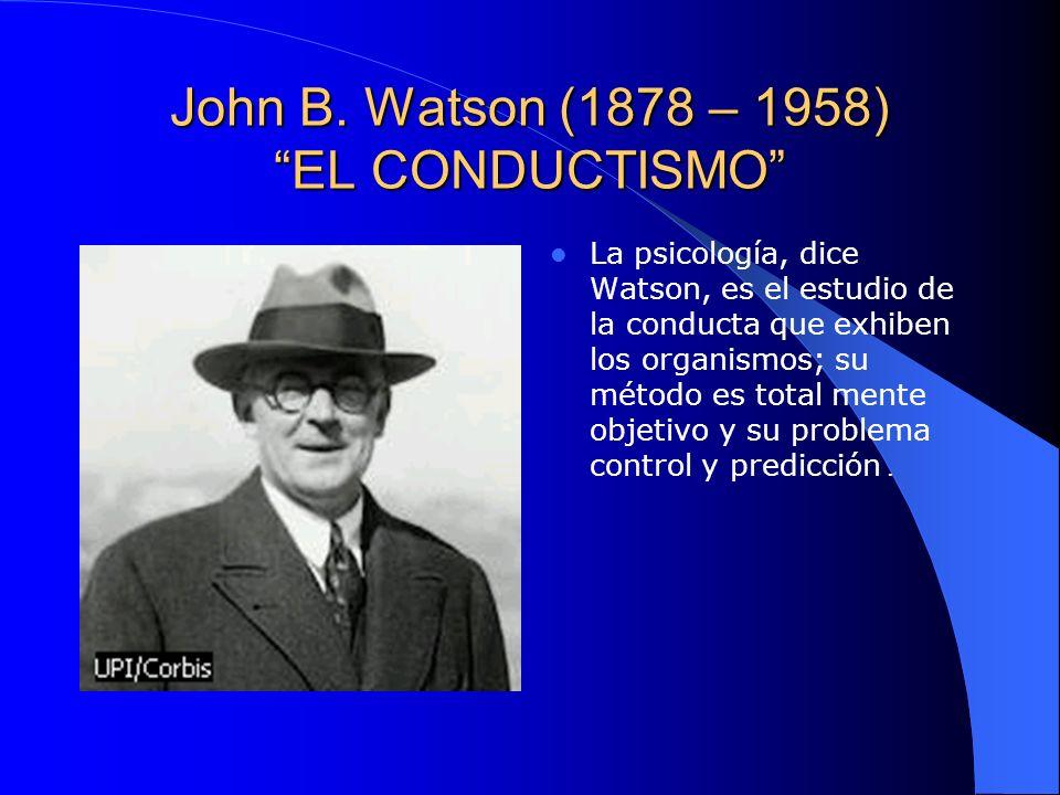 John B. Watson (1878 – 1958) EL CONDUCTISMO