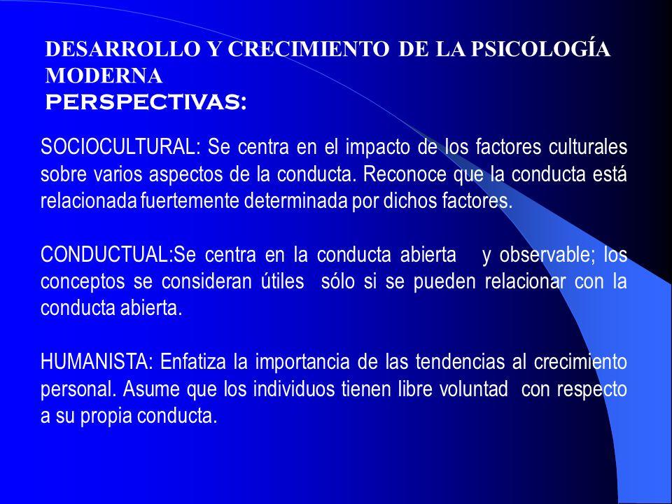DESARROLLO Y CRECIMIENTO DE LA PSICOLOGÍA MODERNA