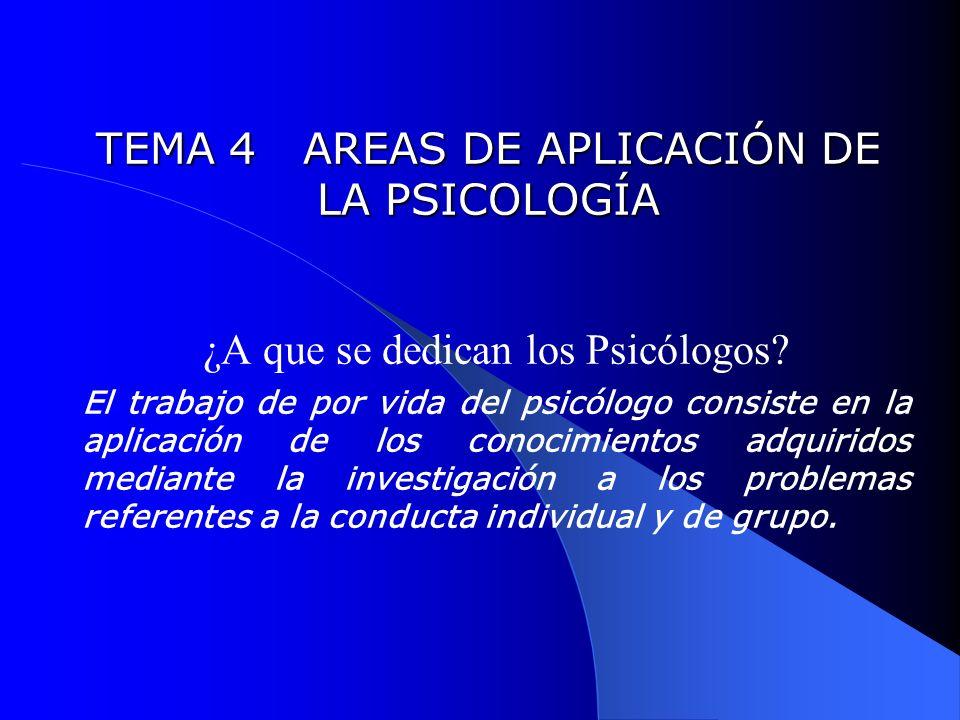 TEMA 4 AREAS DE APLICACIÓN DE LA PSICOLOGÍA