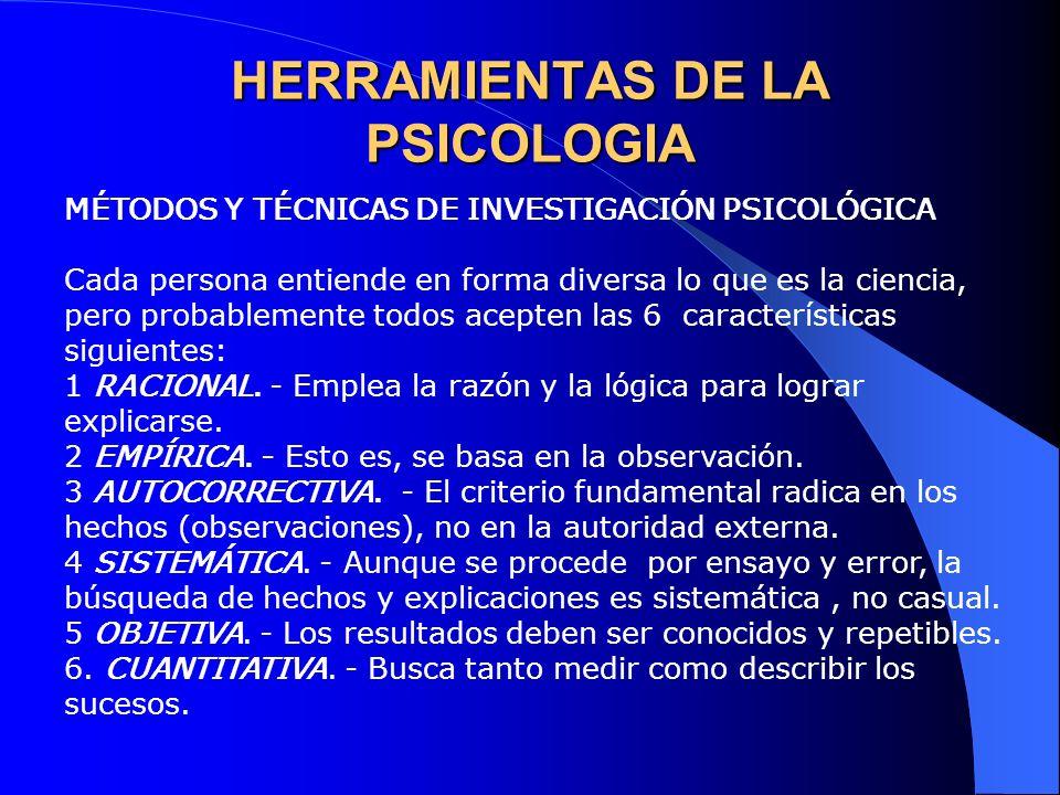 HERRAMIENTAS DE LA PSICOLOGIA