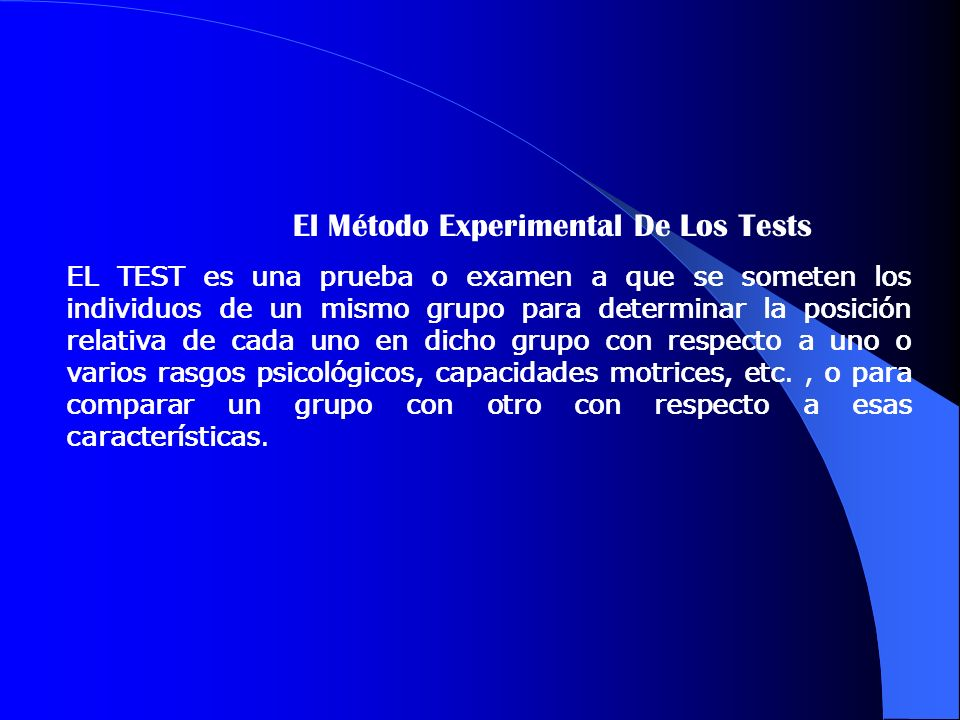 El Método Experimental De Los Tests