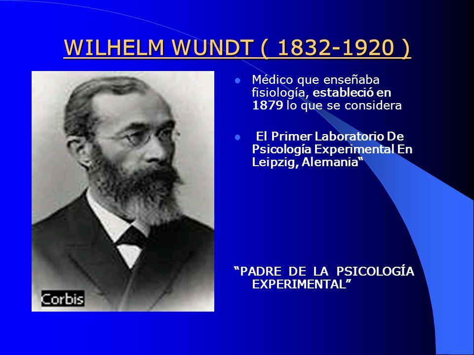 WILHELM WUNDT ( 1832-1920 ) Médico que enseñaba fisiología, estableció en 1879 lo que se considera.