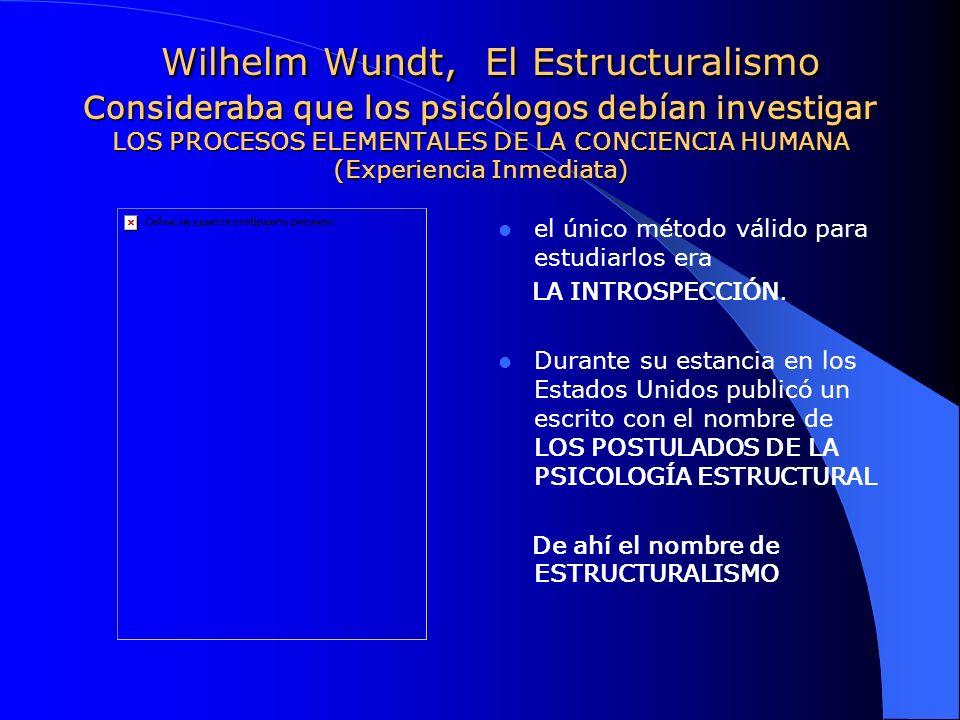 Wilhelm Wundt, El Estructuralismo Consideraba que los psicólogos debían investigar LOS PROCESOS ELEMENTALES DE LA CONCIENCIA HUMANA (Experiencia Inmediata)