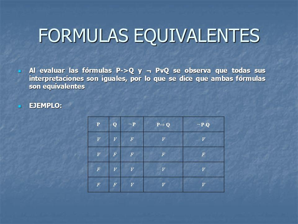 FORMULAS EQUIVALENTES